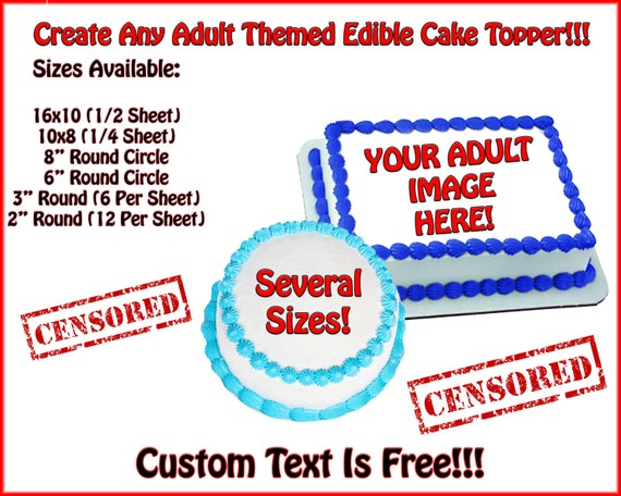Adult Themed Custom Printed Edible Cake or Cupcake Topper For Birthday's and Parties!  Look Like An All-star!
