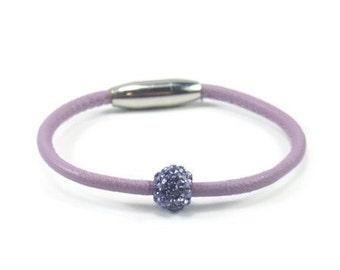 Girls Bracelet, Purple Leather Bracelet, Little Girls Jewelry, Childrens Jewelry, Girls Purple Bracelet, Childrens Bracelet