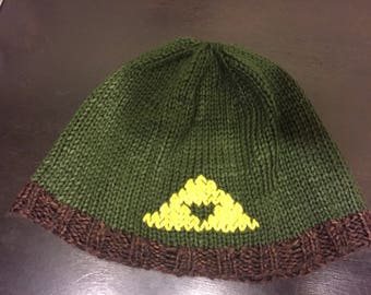 Hand Knit Zelda Triforce Beanie Hat