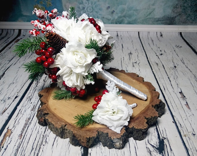 winter wedding bouquet and boutonniere set Best quality frozen rose snow white silk flowers red berries pine cones fake fir winter elegant