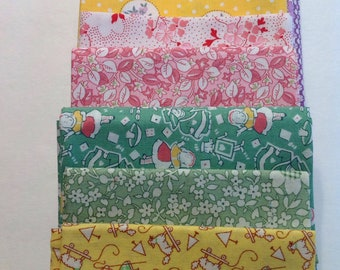 1930s Era,, Assorted 30s Reto Fabric in Yellow, Green, Pink, and Lavender. Fat Quarter  Bundle