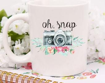Custom Oh Snap Mug,Oh Snap Mug,Funny Photography Mug,Photog Gift,Camera Mug,Camera Gift, Photography Mugs, Newborn Photographer, Photography