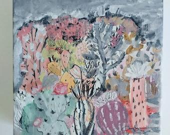 Monsoon Sky- 6x6- abstracti cacti- mixed media