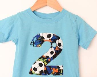 Soccer Birthday Shirt, 2nd Birthday Tshirt, Aqua Short Sleeve Tee, Paint Soccer Balls, Size 2 2T, Ready to Ship, Number 2 Applique Shirt Two