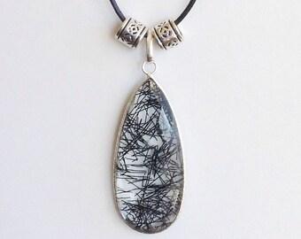 Quartz Pendant Necklace. Gemstone Pendant. White Stone Pendant. Gemstone Necklace. Leather Necklace. Leather Cord Necklace. Unisex Necklace.