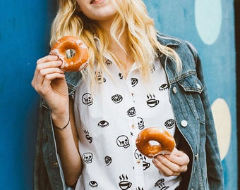 Morning Glory Women's Button-Up Top Coffee Donuts Skull Eye Food Foodie Breakfast White Blouse
