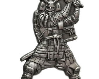 Japanese Samurai Warrior with Katana blade Pin/Brooch (2 color options)