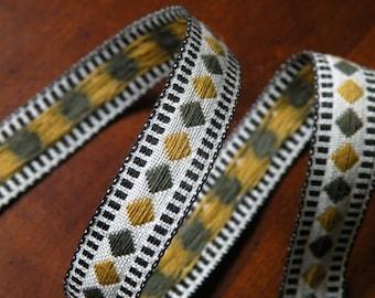 Vintage Ribbon Trim Grey and Mustard Yellow Diamond