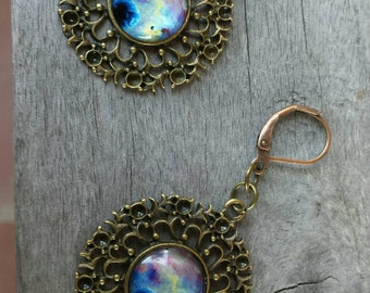 Nebula Earrings, Gypsy, Boho Style, Universe, Galaxy, Celestial Jewelry, Gifts for Her