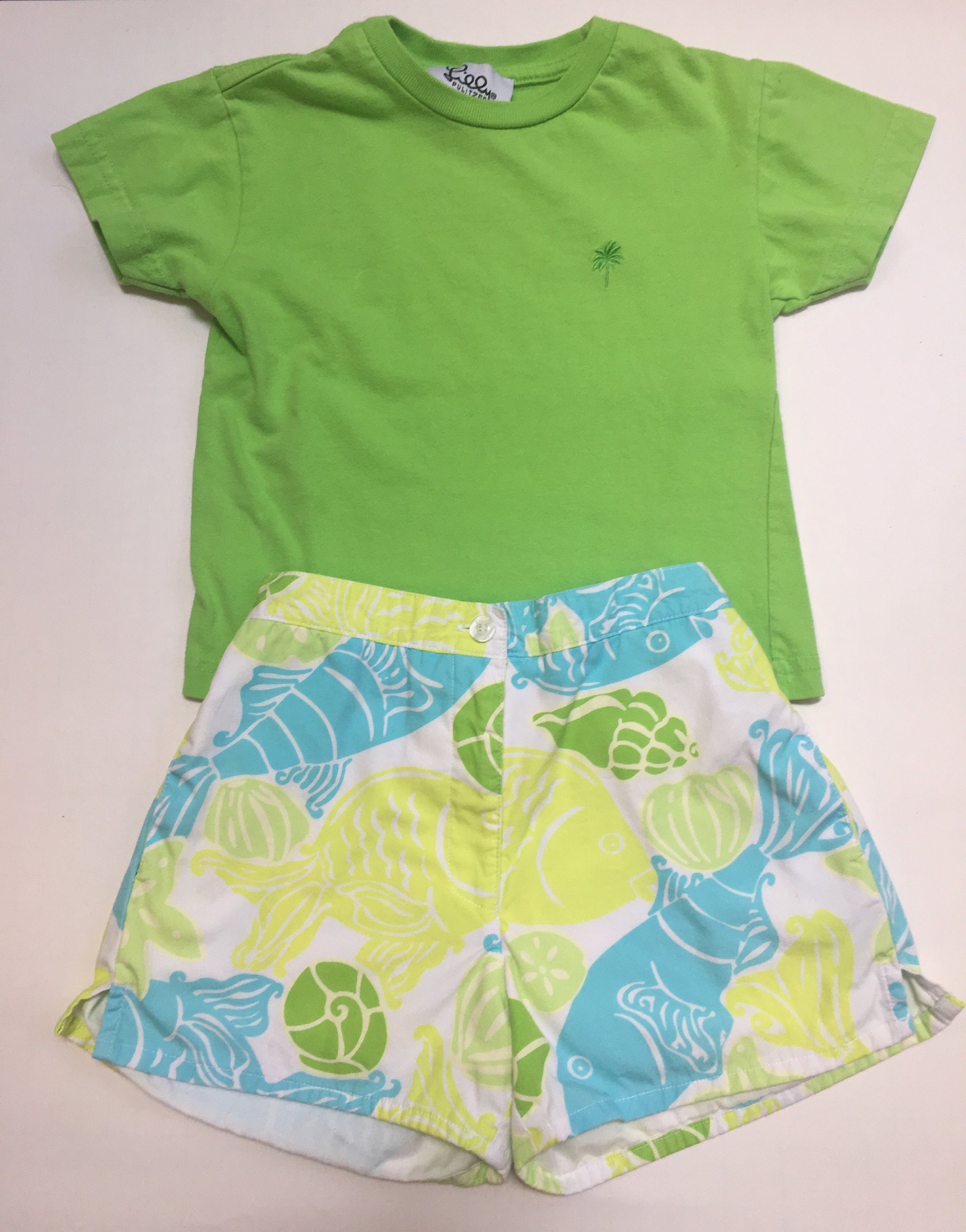 Lilly Pulitzer girls top and shorts blue and lime greensize