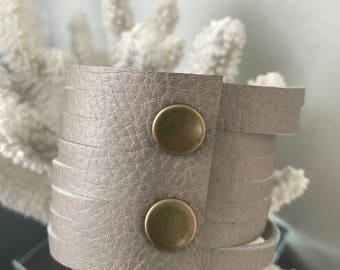 Stone Gray Slit Leather Cuff