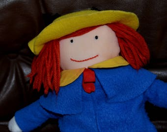 "MADELINE 1990 Vintage.. 15""  Red Dress..Yellow Collar.. Yellow Hat.. Blue Coat, Scar..Some Pilling on Coat (otherwise) excellent condition."
