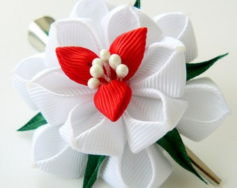Kanzashi fabric flower hair clip, White fabric flower.