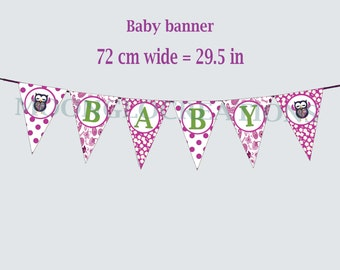 Owl Baby shower Banner, Printable download, Paisley, Polka dots, flowers, purple