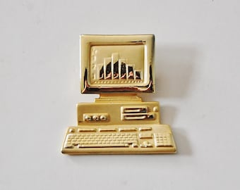 Vintage Computer Brooch, 80's Geek Jewelry Personal Computer or MAC Gold Pin AJC