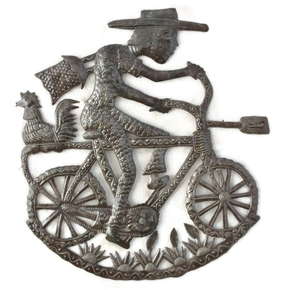 Boy On Bike, Quality Handmade Steel Sculpture, One-Of-A-Kind Metal Art 21x23