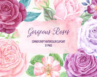 Gorgeous Roses Watercolor Clip Art, pink rose, purple rose, plummy rose and decorative elements for instant download