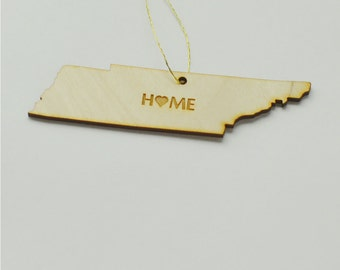 Natural Wood HOME Tennessee State Ornament