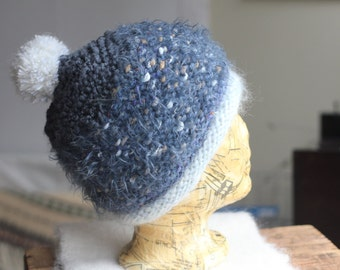 Steely Grey Silky Wool Knit Hat Beanie With Big White PomPom