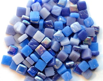 100 8mm Periwinkle Blue Mix Mini SQUARES//Recycled Glass Mosaic Tiles//Mosaic Supplies//Craft Supplies//Mosaic Tiles