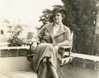 vintage photo 1934 Woman Looks Like Spy Poses in Director Chair