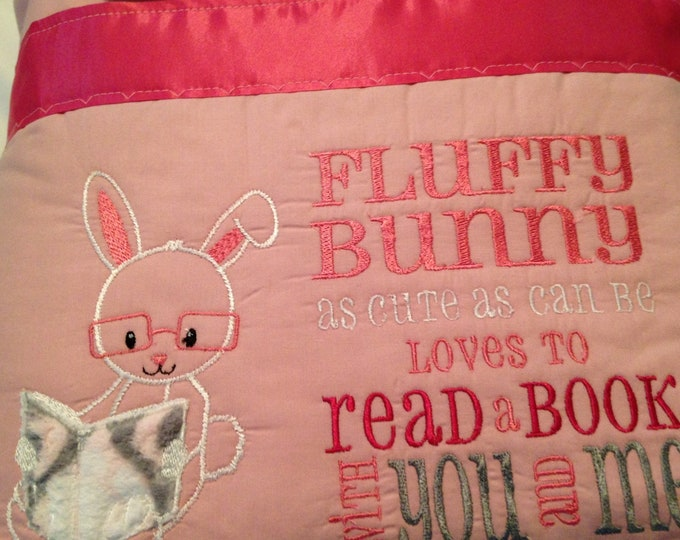Pocket pillow bunny reading pillow pink  child reading pillow fluffy bunny quote zip close pink satin kissing bunnies print pink cotton