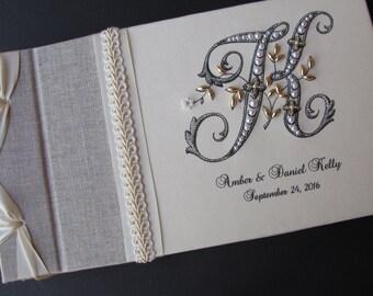 Monogram Guest book, Wedding Guest book, Guestbook,  Linen Guest book, Personalized Guest book, Signature Book,
