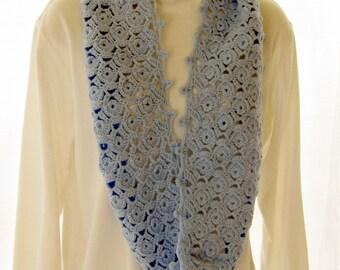 Crocheted Infinity Scarf acrylic Wintuk Yarn Baby Blue Lacy Pattern