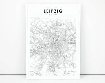 Leipzig city map Etsy