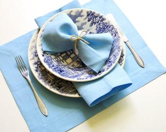 Light Blue Linen placemat, Handmade Table Linen, Linen Wedding Decor, Dining Supply, Home Textiles, Mitered Corners