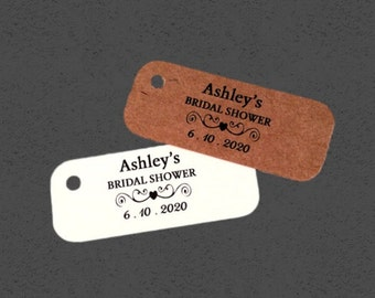 Bridal Shower Tag - 1 x 2 1/2 inch Tags - 50 Wedding Tags - Personalized Tags