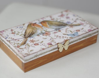 Money wedding box, wooden box for money, decoupaged wedding box, wedding gift, rustic style