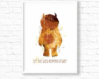 Let the wild rumpus start, where the wild things are nursery wall art,nursery prints, max wild rumpus,baby shower gift, wild things, ET79