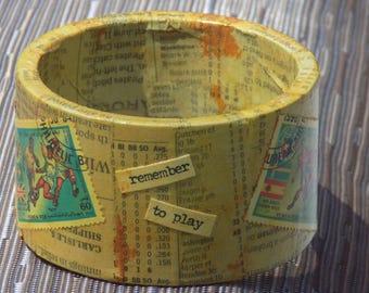 Yellow Decoupage Bracelet