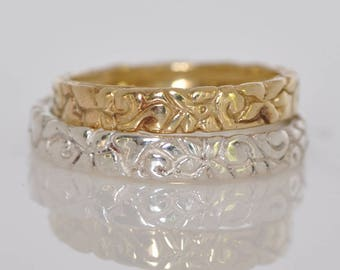 Wedding Ring Set , 14k gold Band For Her and Her , Whit and Yellow Gold Wedding Ring, Thin Gold Ring set For Her and Her, Two Gold  Bands