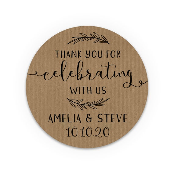 Wedding labels for jars, Wedding stickers thank you for celebrating with us, Wedding labels for mason jars, Round thank you stickers
