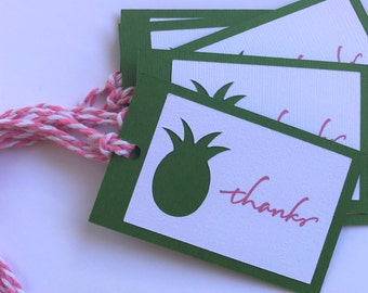 Pineapple Thank You Tags - Pineapple Gift Tags - Tropical Party Favor Tags - Custom Thank You Tags- Birthday Party Thank You Tags