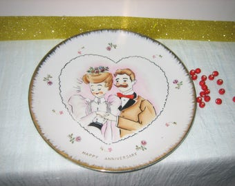 Vintage Norcrest Anniversary Plate Handlebar Mustached Man - Norcrest China Anniversary Collector's Plate Gold Border
