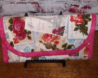 Handmade Pink Floral Fabric Wallet