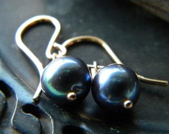 Iridescent blue black genuine cultured pearl earrings - Gold filled handmade jewelry - June birthstone