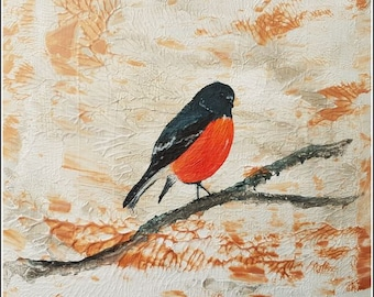Red table Art figurative Robin, Robin painting acylic red