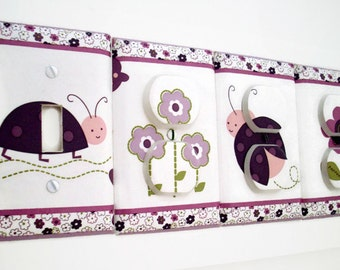 Ladybug Light Switch Cover - Purple Pink Nursery Decor - Girls Purple Nursery - Girls Luv Bug Bedroom - Purple Flower Outlet Covers