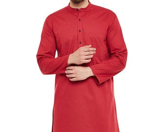Indian Shirt Red Cotton Kurta tunic solid Plus size loose fit Big and tall