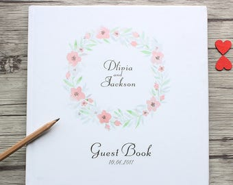 Personalized White and Floral Wreath Wedding Guest Book,Custom Fresh Style White Wedding Guest Book,Baby Shower,Anniversary Party Guest Book