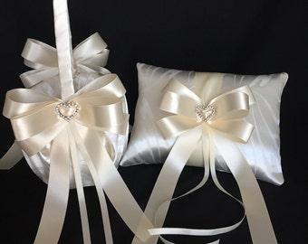 Ivory flower girl basket,wedding ring bearer pillow,ivory ring pillow, ivory wedding ring bearer, wedding basket