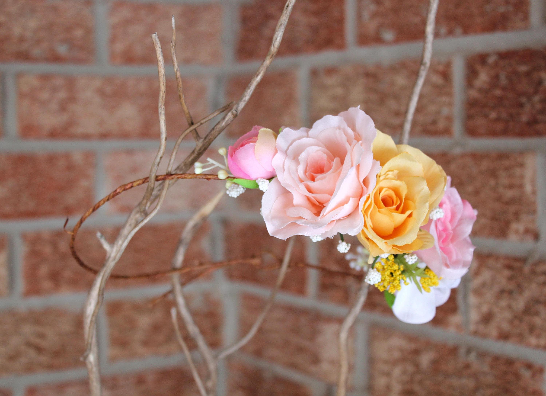 Peach Pink Yellow Crown Flower Crown Floral Crown Pink Rose
