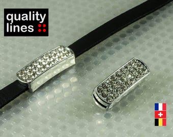Silver rhinestone 8mm flat leather cord loop / 2mm - 8mm slide