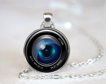 Camera Lens 1 Glass Pendant, Photo Glass Necklace, Glass Keychain, Glass Jewelry