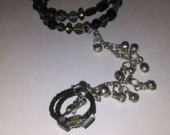 Black Gray and Green Memory Wire Hand Flower with Silver Temple Bells Bracelet and Ring Set- 003