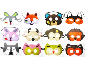 6 felt Woodland animals Masks party pack for kids - YOU CHOOSE STYLES - Dress Up play costume accessory set - Birthday gift for Boys Girls